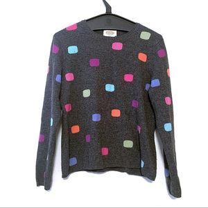 Talbots Gray Multicolor Pattern Cashmere Sweater